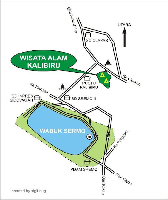 Peta Jalur Ke Lokasi Kalibiru, Kulonprogo