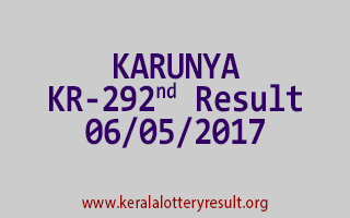 KARUNYA Lottery KR 292 Results 6-5-2017