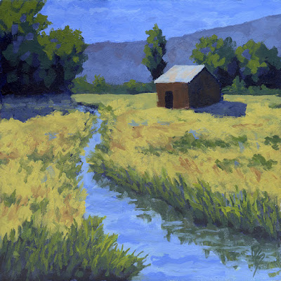 rural landscape art acrylic painting barn ditch