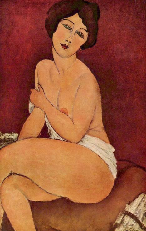 #PraCegoVer: Nua Sentada em um Divã, também conhecida como A Bela Romana, é uma obra do pintor italiano Amedeo Modigliani.
