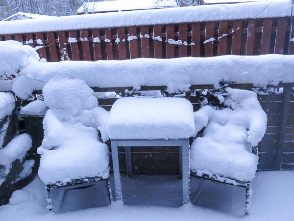 snö, uteplatsen