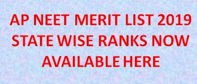 AP NEET Merit List 2019 AP NEET State Rank Available now 1