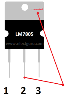 Ground and common pin of LM 7805 ic
