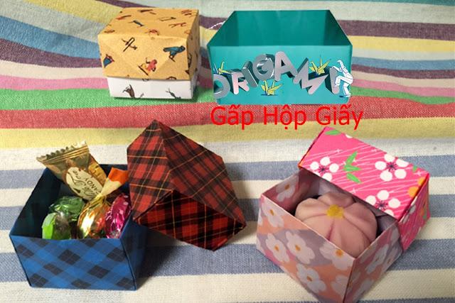 Hướng dẫn cách gấp hộp giấy không nắp đơn giản - Xếp hình Origami với Video clip - How to make a Box
