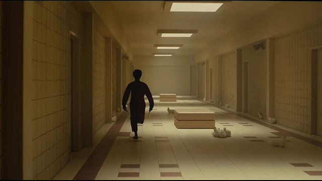 Silhouette running down a hallway