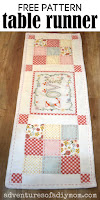 quilted table runner on wood backdrop