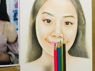 ขั้นตอนการวาดภาพเหมือนด้วยสีไม้อย่างละเอียด