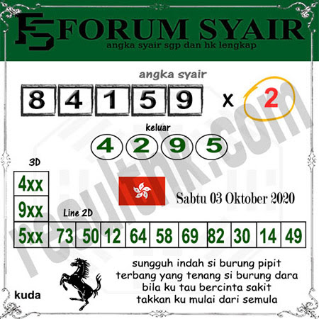 Forum Syair HK Malam Ini Sabtu 03 Oktober 2020