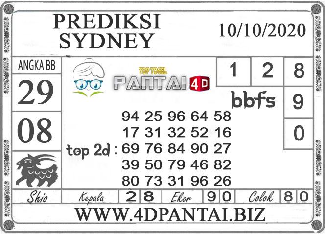 PREDIKSI TOGEL SYDNEY PANTAI4D 10 OKTOBER 2020