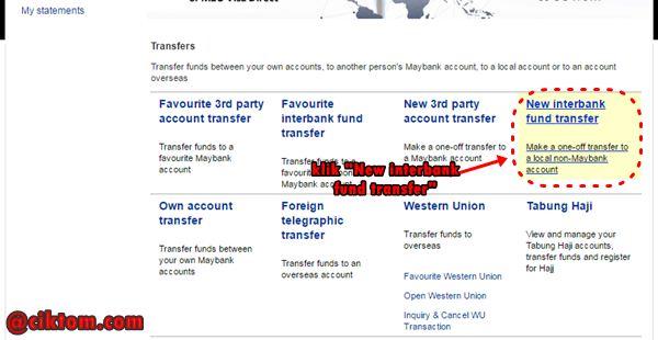 tutorial bergambar transfer duit melalui maybank2u