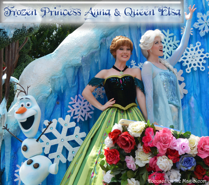 Princess Anna and Queen Elsa in Disney Festival of Fantasy Parade Focused on the Magic