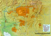 Distribuição Atual das Reservas Apaches e da Reserva Navajo nos Estados Unidos