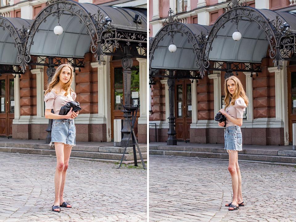Fashion blogger outfit inspiration, vintage Levi's denim shorts, summer 2020 - Muotibloggaaja, kesämuoti 2020, Levis farkkushortsit