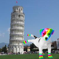 El perro arcoíris sonríe en Cice haciendo pipí en la Torre de Pisa