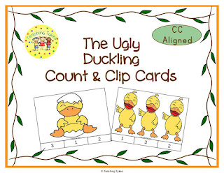 https://www.teacherspayteachers.com/Product/The-Ugly-Duckling-Count-and-Clip-Cards-902772