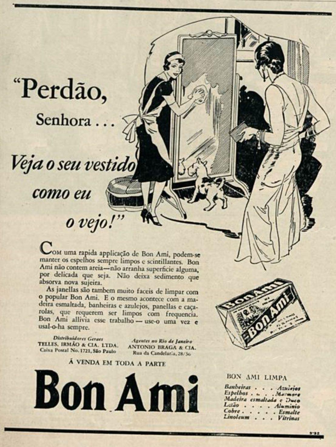 Propaganda antiga do limpadores de vidros e espelhos Bon Ami veiculada em 1933