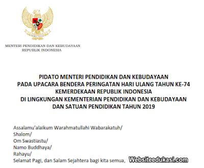 Pidato Sambutan HUT Ke 74 Kemerdekaan RI Tahun 2019