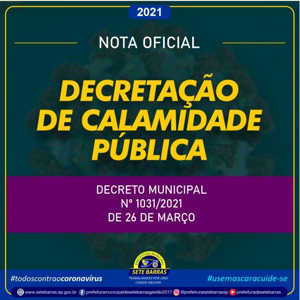 PREFEITURA DE SETE BARRAS DECRETA ESTADO DE CALAMIDADE PÚBLICA