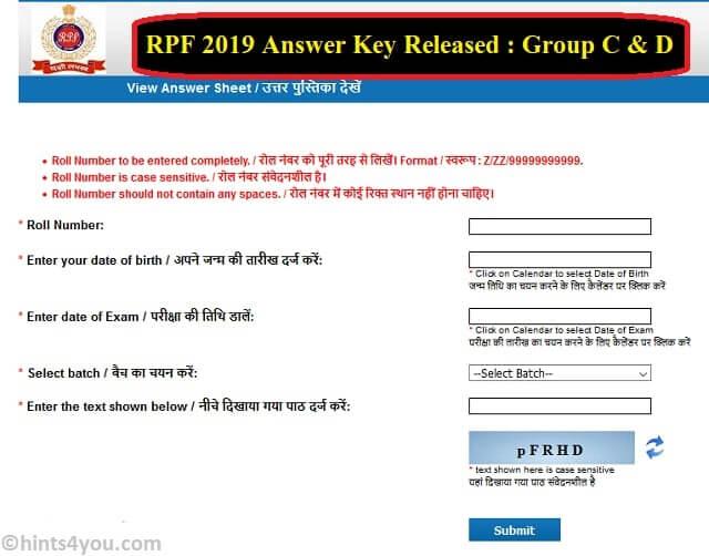 Finally, RPF Answer Key 2019 Released: