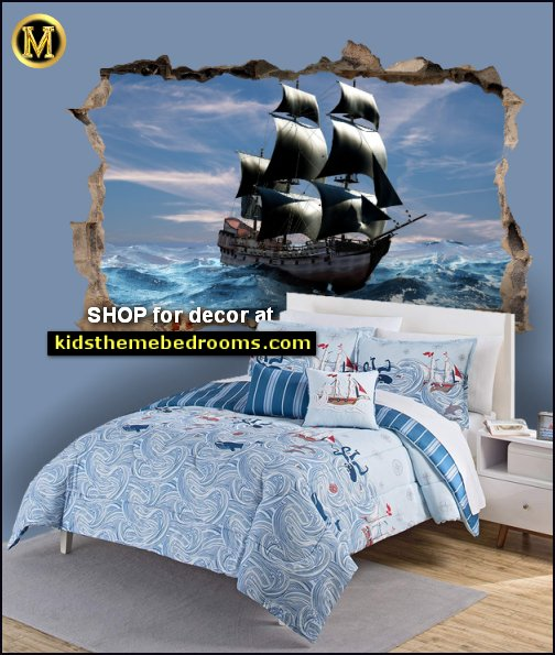 Pirate Ship Wall Decal Sticker Mural  Ride The Waves bedding pirate bedrooms