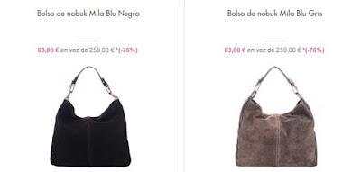 bolsos piel de nobuk baratos color negro o gris