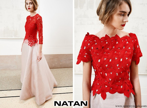 Queen Mathilde wore a red lace dress by Natan