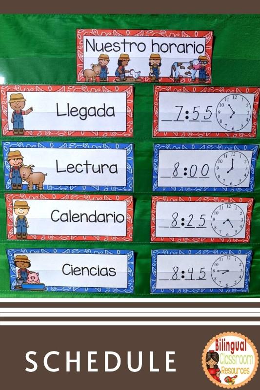 Schedule Cards l Editable Schedule Cards in Spanish l Tarjetas de horario