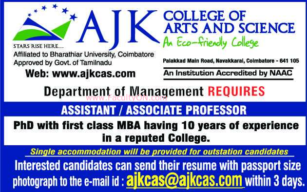 AJK College Of Arts And Science Coimbatore Associate