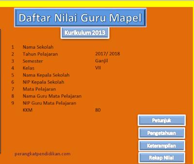 Download Aplikasi Excel Daftar Nilai Mata Pelajaran (Mapel) SMP Kurikulum 2013 Revisi 2017