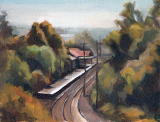 Oil painting of train tracks leading to a railway station surrounded by trees.