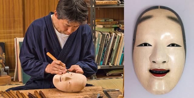 Japanese craftsman Hideta Kitazawa chiseling a wooden mask