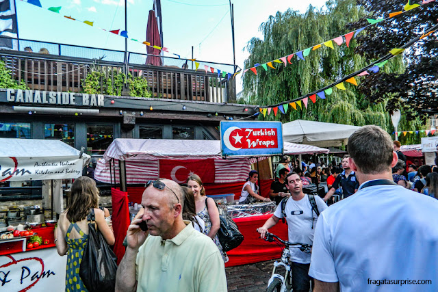 Barraca de comida turca no Mercado de Camden Town
