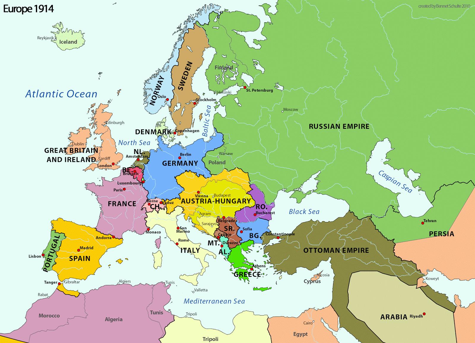 L Europa Cartina Geografica.Correva L Anno 1914