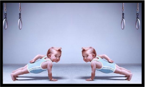 cartoon of baby doing push ups