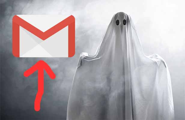 A ghost in a white cloth and a gmail logo