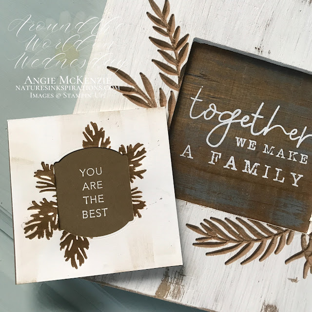 By Angie McKenzie for Around the World on Wednesday Blog Hop; Click READ or VISIT to go to my blog for details! Featuring the Beautiful Boughs Dies, Peaceful Boughs Stamp Set, Tasteful Touches Bundle, by Stampin' Up!® to create a texture you can feel on cards; #stampinup #cardtechniques #cardmaking #tastefultouchesbundle #peacefulboughsstampset #beautifulboughsdies #tastefullabelsdies #naturesinkspirations #drybrushtechnique #fauxletterpress #handmadecards #20202021annualcatalog #stampinupinks #stampingtechniques #awowbloghop #aroundtheworldonwednesdaybloghop