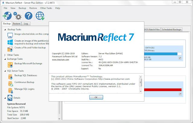 Screenshot Macrium Reflect 7.2.4473 Full Version