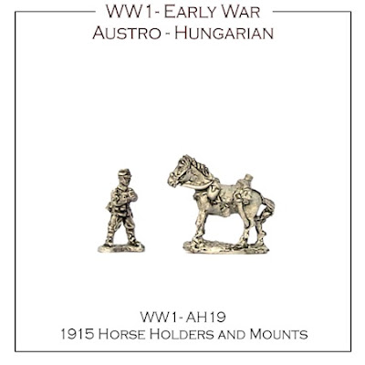 WW1-AH19 Austro-Hungarian 1915 Horse Holders and mount - (16 mounts, 4 horse holders + 4 bases)