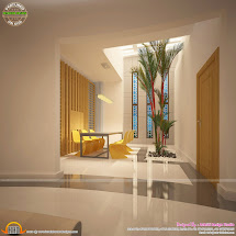 Awesome Interiors Of Living Kitchen And Bathroom - Kerala