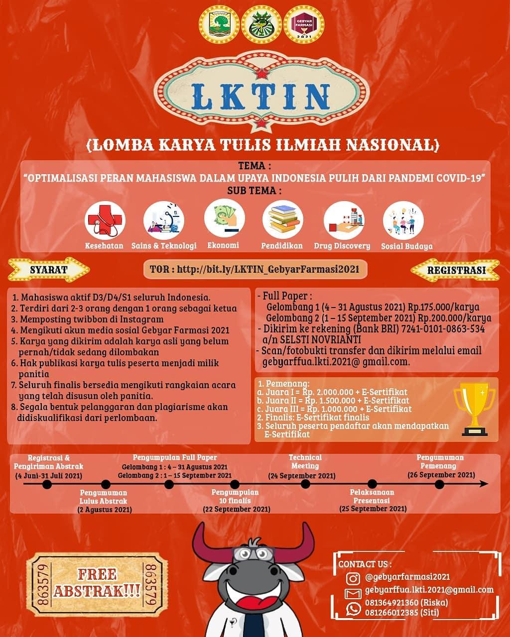 (LKTIN) Lomba Karya Tulis Ilmiah Nasional oleh Fakultas Farmasi Universitas Andalas
