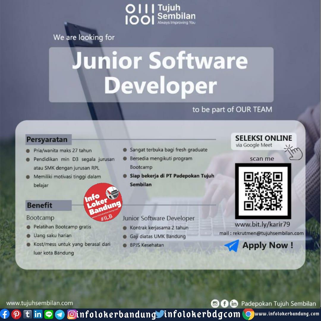 Lowongan Kerja Junior Software Developer PT. Padepokan Tujuh Sembilan Bandung Juni 2020
