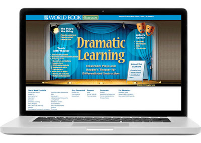 World Book Dramatic Learning website on laptop features stage, lights, and theater masks