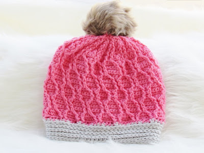 Crochet Cabled Slouch Hat Pattern