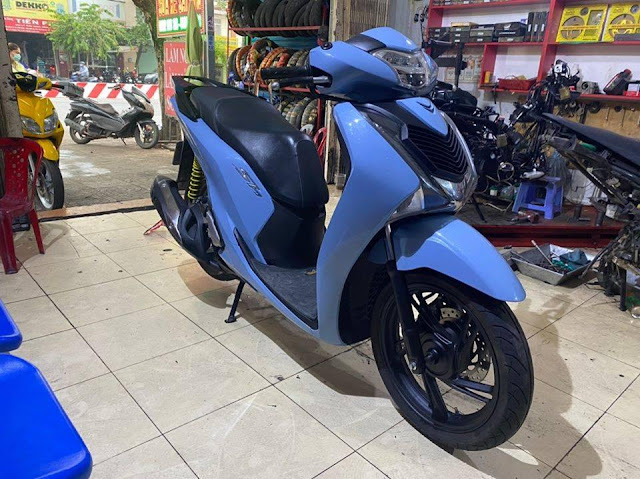 Mẫu Sơn Xe Honda SH màu xanh xi măng tại Tp.Hồ Chí Minh