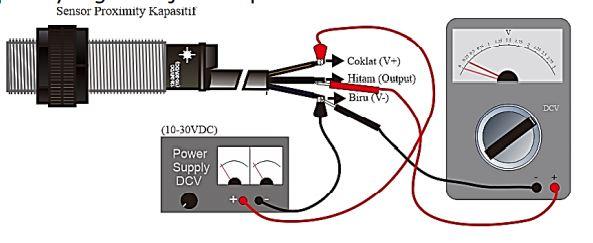 Mengukur Tegangan Luaran Sensor Proximity Kapasitif