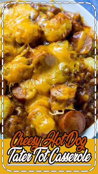 Cheesy Hot Dog Tater Tot Casserole is pure comfort food. Sliced hot dogs, chili, tater tots, and cheddar cheese combine to make an easy and delicious meal. This redneck casserole is sure to be a family favorite.