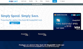 How to Apply SBI Credit Card Online, LVB SBI SimplySAVE Card