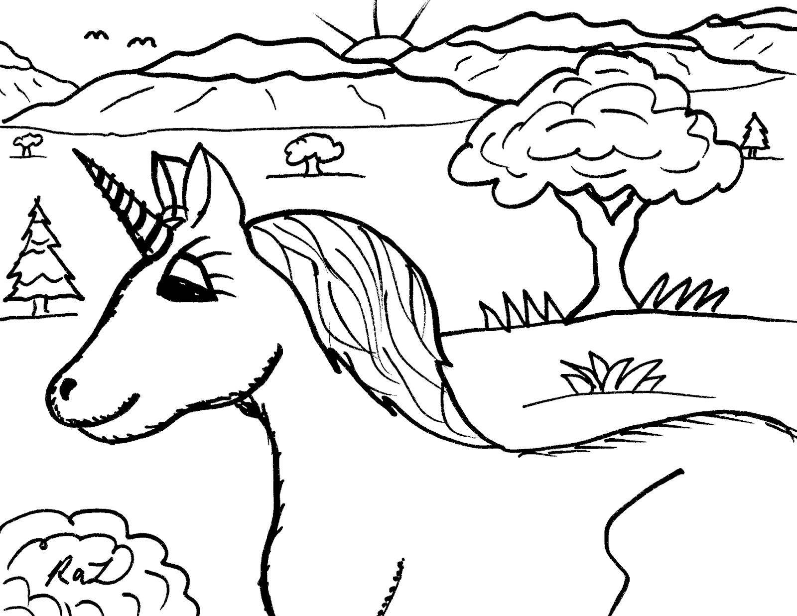 Unicorn mare cartoon drawing at sunrise