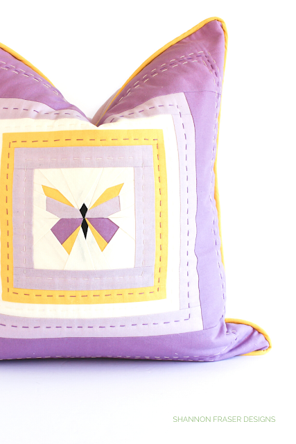 Purple and yellow butterfly hand quilted pillow | 7 handmade mother's day gift ideas | Shannon Fraser Designs