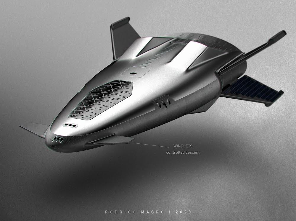 SpaceX orbital shuttle concept by Rodrigo Magro - winglets